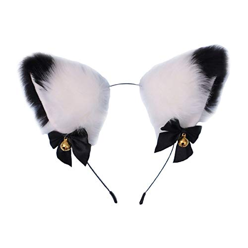 Fxaelian Animal Anime Faux Fur Fox Wolf Cat Dog Ears Headband with Bells Halloween Cosplay Costume Party Headpiece Hair Accessories for Women Girls Adult Kids Bells White Black