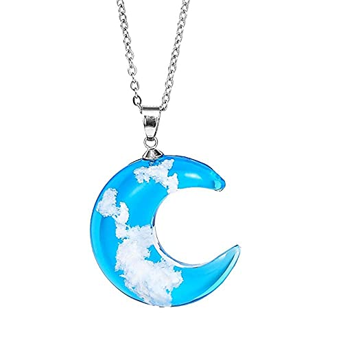 Crystal Glass Necklace Pendant With Moon Blue Sky White Cloud Transparent Resin Pendant With Moon S Necklaces Women Fashionable Jewelry