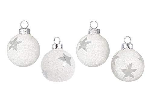 zeitzone Tischkartenhalter Christbaumkugel Stern Schnee Weiß 4 Stück Glas Weihnachten Platzkartenhalter Set