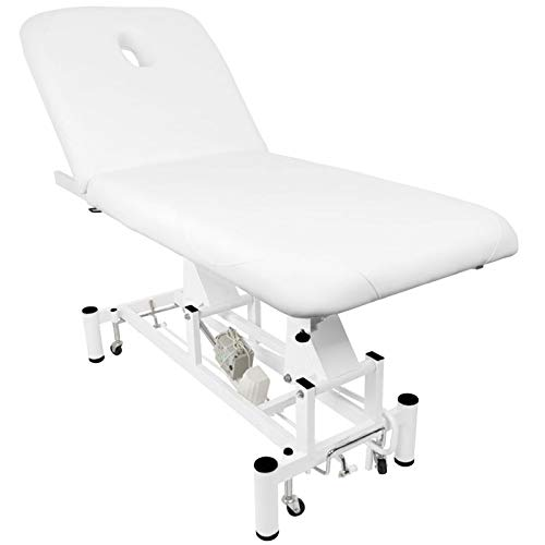 Activeshop Kosmetikliege Massageliege Massagetisch Massagestuhl Cosmetic Chair Elektrish 684a mit 1 Motor Weiss bis 200 kg belastbar Premium-PU-Leder