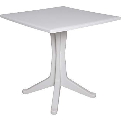 Dmora Tavolo Quadrato da Esterno ed Interno, Made in Italy, 70x70x72 cm, Color Bianco