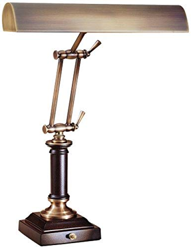 House of Troy P14-233-C71 16-1/2-Inch Portable Desk/Piano Lamp, Antique Brass and Chestnut Bronze