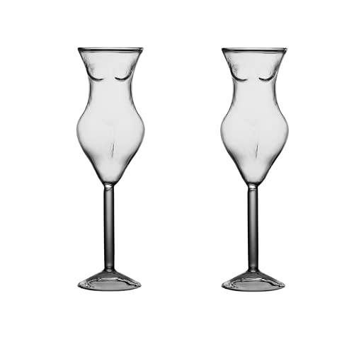 UUHUKP Vaso de cóctel creativo (2 unidades), 180 ml, diseño de modelo de personaje de cóctel, vidrio individual para regalo novedoso para bar, fiesta de cumpleaños, celebración de Navidad