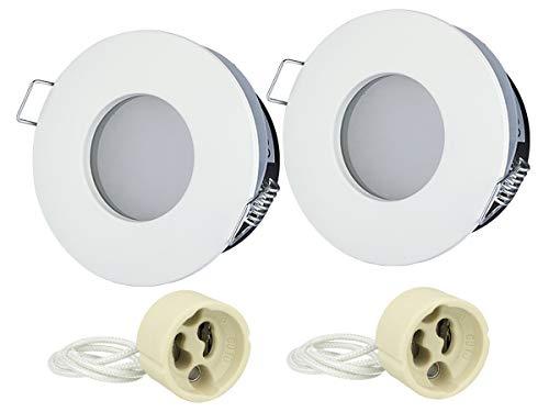LEDLUX Lot de 2 supports de spot étanches IP54 pour douche, salle de bain, sous toit, trou 75 mm, douille GU10 incluse