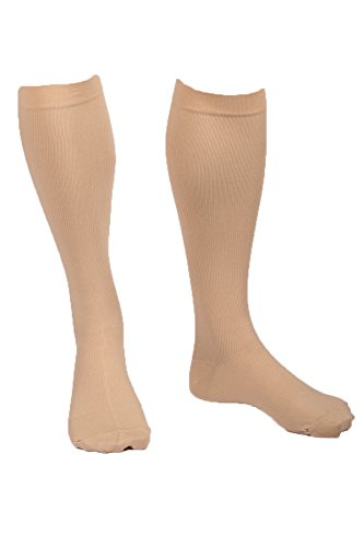 EvoNation Men's USA Made Graduated Compression Socks 20-30 mmHg Firm Pressure Medical Quality Knee High Orthopedic Support Stockings Hose - Best Comfort Fit, Circulation, Travel (XL, Tan)