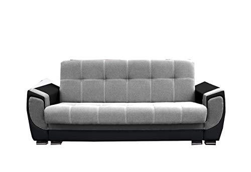 mb-moebel Modernes Sofa Schlafsofa Kippsofa mit Schlaffunktion Klappsofa Bettfunktion mit Bettkasten Couchgarnitur Couch Sofagarnitur 3er Lilly (Hellgrau + Dunkelgrau (feiner Webstoff))