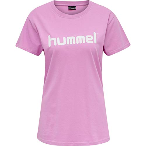 hummel Go Cotton Logo - Camiseta para Mujer (Talla S/S), Mujer, Camiseta, 203518, Orchid, Small