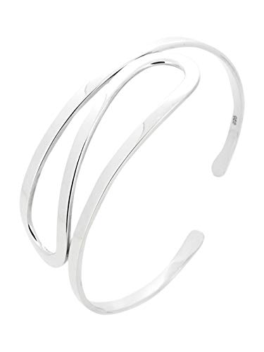TreasureBay Classic Women's 925 Sterling Silver Bangle Bracelet Cuff
