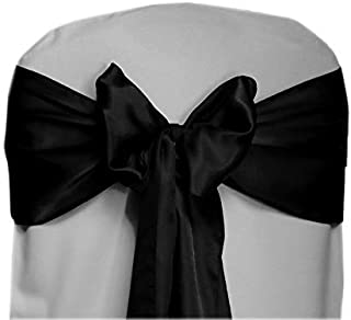 SARVAM FASHION Pack of 25 Satin Chair Sashes Bow sash for Wedding and Events Supplies Party Decoration Chair Cover sash - (25, Black)