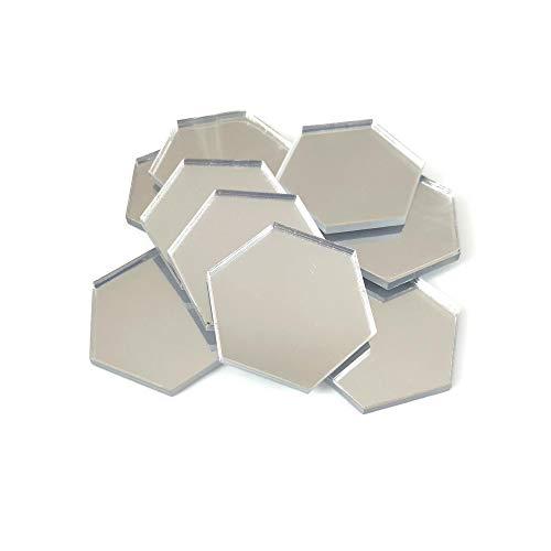 Servewell Hexagon Shaped Crafting Spiegels, set van 10, vele kleuren, onbreekbaar acryl Pack of 10 x 3cm Blauwe spiegel