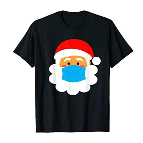 Dicomi - Vestito da festa 2020, alla moda, da donna, con stampa natalizia, casual, girocollo, con stampa Nero-7. M