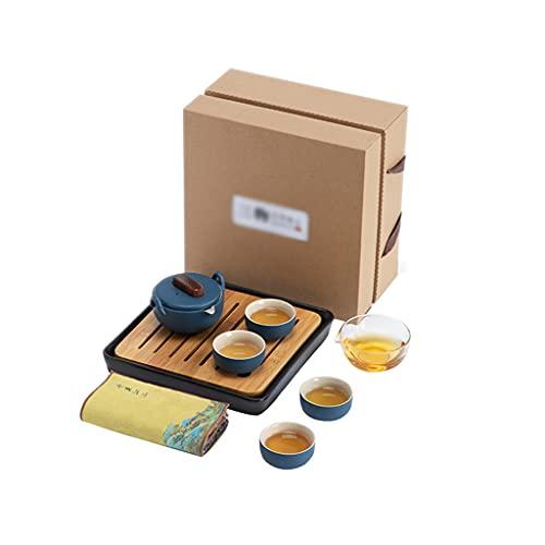 ASDWS Conjuntos de té de Porcelana, Tazas de 1,18 oz con Tetera de 3,7 oz para el té, Viajes Kung Fu Tea Pot Set con Bandeja, Todo en uno para el Hotel Picnic al Aire Libre,C
