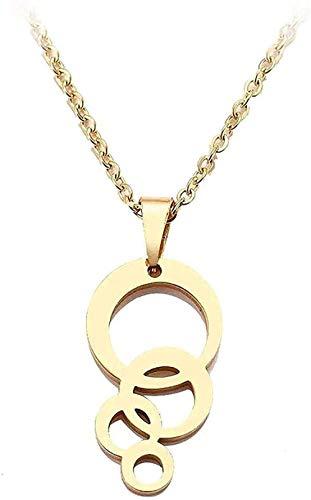 LBBYLFFF Collar Mujer Collar Collar de Acero Inoxidable para Mujer Hombre círculo y círculo Color Oro y Plata Colgante Collar Compromiso joyería Regalo niña Cuello Joven