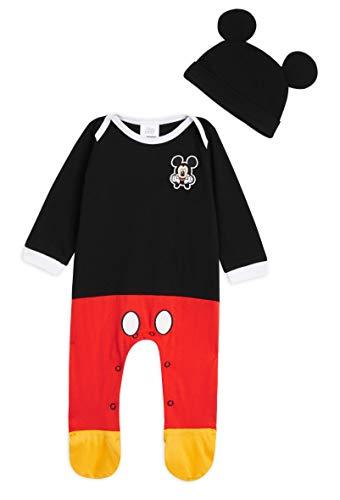 Disney Ropa Bebe Niño, Pijama Bebe de Mickey Mouse, Pijama Bebe Invierno, Body Bebe 100% Algodon, Pijama Entero con Gorro, Regalos para Bebes 0-24 Meses (6-9 Meses)