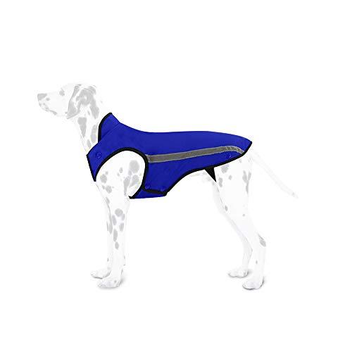 SlowTon Kurtka zimowa dla psa, płaszczyk dla psa, regulowany obwód szyi i klatki piersiowej, kamizelka dla zwierząt domowych, z odblaskowymi paskami, wodoszczelna kombinezon, utrzymuje ciepło (XXL, niebieska)