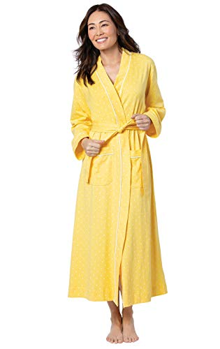 PajamaGram Womens Robe Cotton Wrap - Womens Robes Long Soft, Yellow, L, 12-14