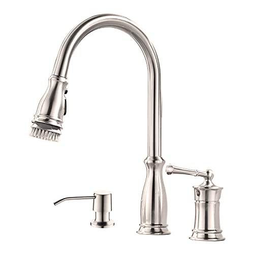 3-Hole High Arc Kitchen Faucet with Pull Down Magnetic Docking Sprayer Brushed Nickel,APPASO 3 Pieces Pull Out Kitchen Sink Faucet with Side Single Handle with Soap Dispenser,Silver,APS228BN