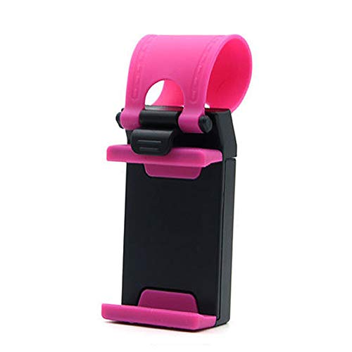 YJSZJY Soporte universal para teléfono de volante de coche, soporte para cámara de coche, GPS, para iPhone, Samsung, color rosa