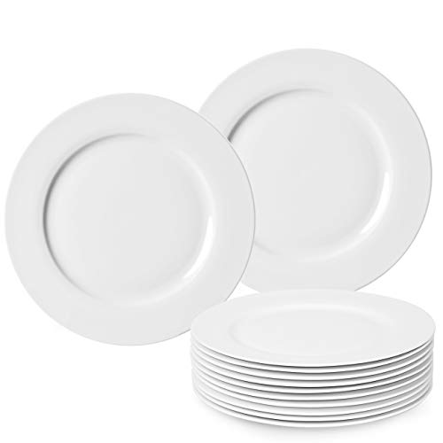 amHomel 12-Piece Perdurable Porcelain Dinner Plates, High Temperature Natural White Dinnerware Dish for Dinner and Salad,Restaurant, Family Party and Kitchen Use (Bone, 10.75 inch)