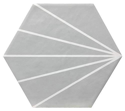 Nais - Baldosas cerámicas para suelos y paredes de interior - Colección Hexatile - Color Abanico Gray (17,5x20 cm) - Caja de 0,71 m2 (25 piezas)