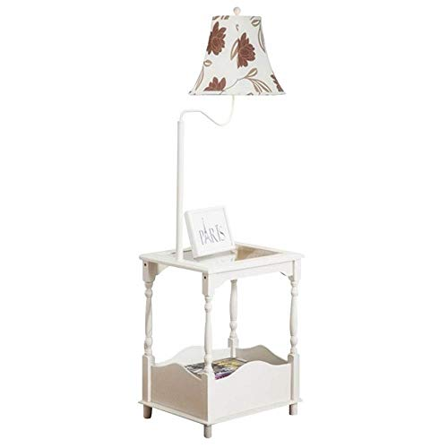 Staande lamp van hout | staande lamp in moderne stijl met kleine tafel | voor woonkamer slaapkamer kantoor 48 x 38 x 140 cm
