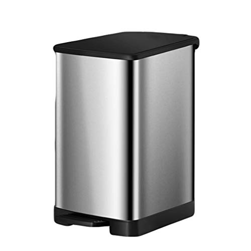 Stainless Steel Touchless Trash Can With Lid,Foot-operated,Blocking Peculiar Smell,With Removable Inner Bucket,Large Capacity, For Homes,Hotels,Etc. (Color : Silver, Size : 2.1gallons)