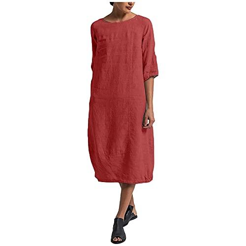 Liably Vestido de verano para mujer de lino, talla grande, informal, vestido maxivestido de verano, elegante, suelto, color sencillo, falda recta, para la playa rojo M