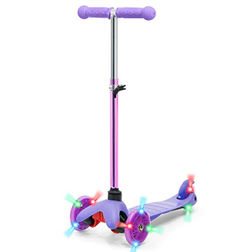 Best Choice Products Kids Mini Kick Scooter w/ Light-Up Wheels and Height Adjustable T-Bar - Purple