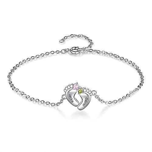 Albertband Pulsera para mujer Pulsera con piedras de nacimiento personalizadas con nombre y foto Joyas para el día de la madre Colgante de pie de bebé para madre y familia (#2 nombres)