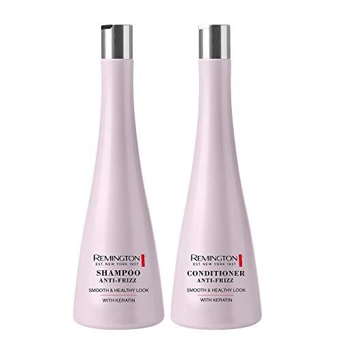 Remington Shampoo Anti-Frizz 250 ml + Conditioner Anti-Frizz 250 ml – mit Keratin – Seidig-weiches, gesundes Haar
