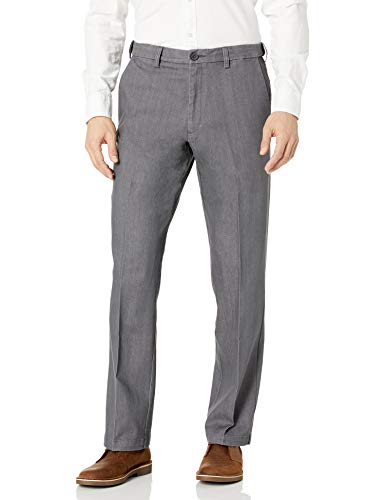 Haggar Men's Stretch Color Denim Expandable Waist Classic Fit Plain Front Pant, Dark Grey, 36x29