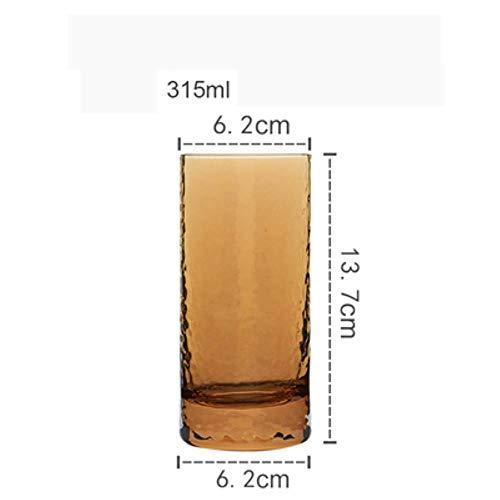 2 Stks Hand Gehamerd Glas Cup Japanse Stijl Hamer Patroon Amber Water Cup Wijn Glas Huishoudelijke Water Glas Bier Cup 2 stuks.