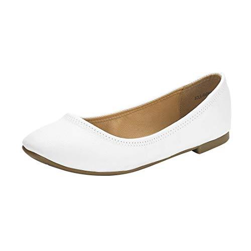 DREAM PAIRS Women's Sole-Happy White Ballerina Walking Flats Shoes - 6 M US