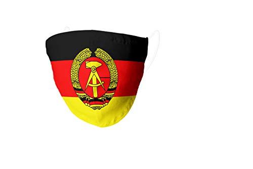 VENGANAILS Designer Alltagsmaske - DDR, Behelfsmaske, Gesichtsmaske, Community Maske, Filtertasche, Handmade, Waschbar bis 60° Maschinenwäsche (Large)