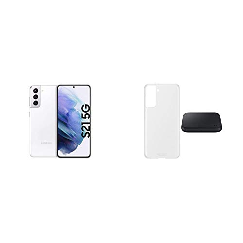 Samsung S21 Ultra 5G, Android Smartphone ohne Vertrag, Quad-Kamera, 256 GB Speicher, Phantom Black + Starter Kit S21 Ultra Clear Standing Cover transparent inkl. Wireless Charger Pad P1300