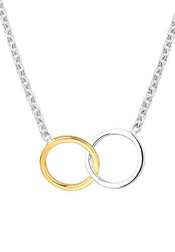 Elli Collana da Donna in Argento 925 con Cerchi colorati in Argento e Oro Giallo