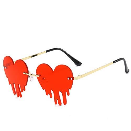 LINLIN Gafas de Sol sin Montura de corazón de Amor a la Moda para Mujer, Gafas de Sol Steampunk con Forma de lágrima, Gafas de piloto UV400
