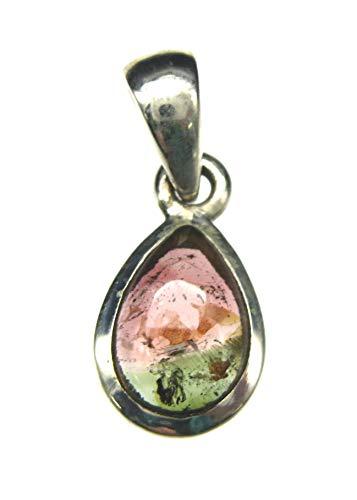 Amaryllis Colgante de turmalina rojo con gota verde, 9 x 21 mm, plata 925