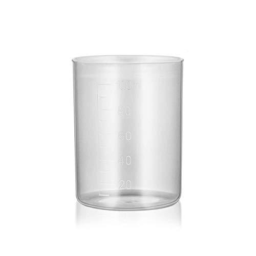 Vasos de plástico graduados, 20 unidades, 100 ml, transparentes, reutilizables, multiusos