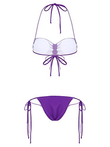 CHICTRY Women's Sexy Bandeau Bra with Thong Bikini Set Tie Side Two Piece Swimsuit Bathing Suit Purple M