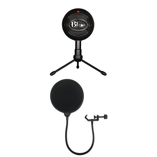 Blue Snowball iCE Condenser Microphone, Cardioid - Black with Dragonpad Pop Filter