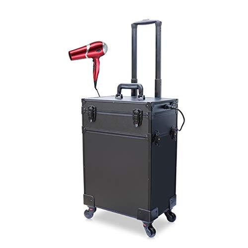 Caisse De Chariot De Maquillage De Grande Capacité LED Kit De Clou De Beauté en Alliage D'aluminium Rechargeable en Aluminium Cas De Chariot De Coiffeur