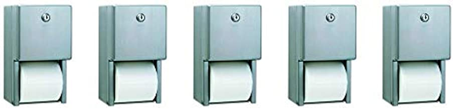 Bobrick B-2888 Classic Series Surface-Mounted Multi-Roll Toilet Tissue Dispenser, Satin (5-(Pack))