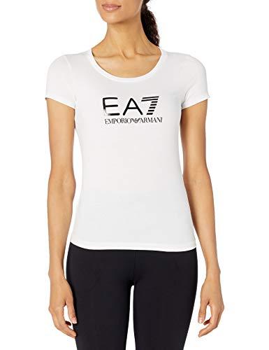 Emporio Armani Camiseta Train Core para mujer, Blanco/Negro, Medium