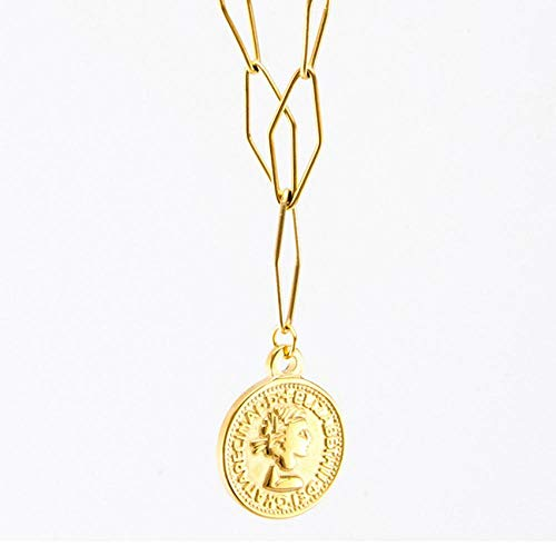 Necklace for Women Stainless Steel Medallion Pendant Necklace Long Choker Jewelry
