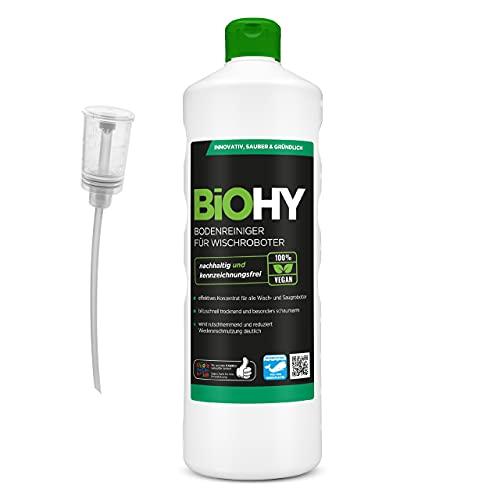 BiOHY Bodenreiniger für Wischroboter (1l Flasche) + Dosierer | Konzentrat für alle Wisch & Saugroboter mit Nass-Funktion | nachhaltig & ökologisch