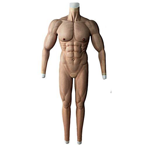LUCKFY Männliche Brust Silikon Muskelanzug - Simulation Haut Falscher Muskeln - Ganzkörperkörper künstliche gefälschte Muskel Bauchkörper für Cosplay Masquerade-Kostüm,Flesh