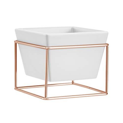 Amazon Basics Pflanztopf für den Tisch, quadratisch, Weiß / Kupferfarben