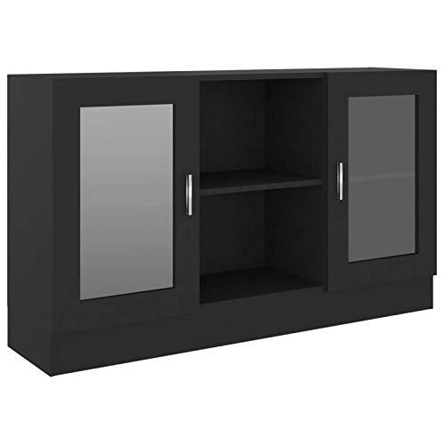 Tidyard Vitrinas de salón Vitrinas de exposición Vitrina de aglomerado Negro 120x30,5x70 cm
