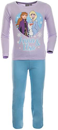 Brandsseller Zweiteiliger Mädchen Schlafanzug Anna und ELSA - Pyjama Freizeitanzug Set mit Motiven im Stil von Frozen 98/104